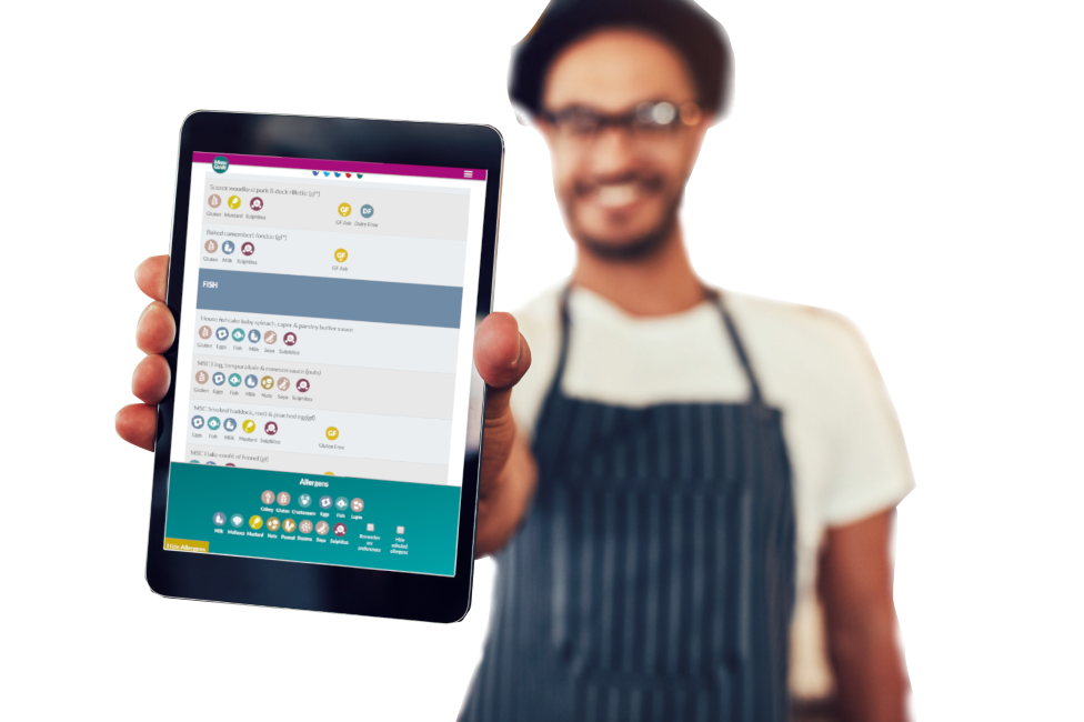 Chef with Menu Guide Food Allergen Software