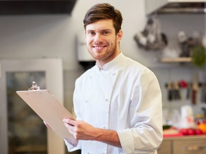 Chef with clipboard